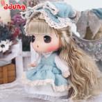 ddung冬己新品娃娃 18厘米复古蓝色纱裙公主装娃娃 换装diy娃娃