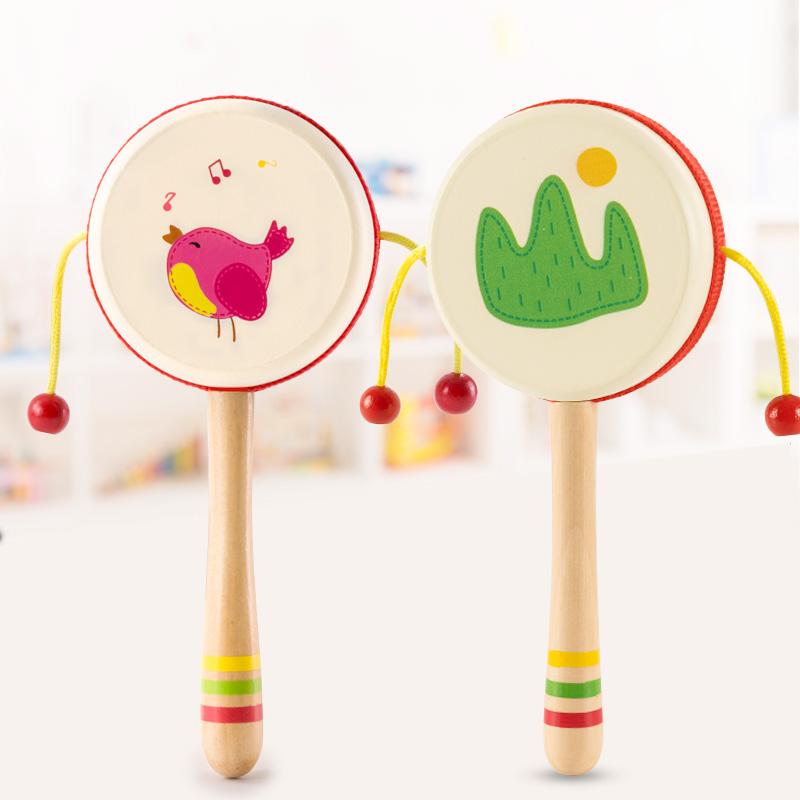 福孩儿婴儿拨浪鼓传统木质手摇新生小宝宝儿童玩具不可啃咬波浪鼓