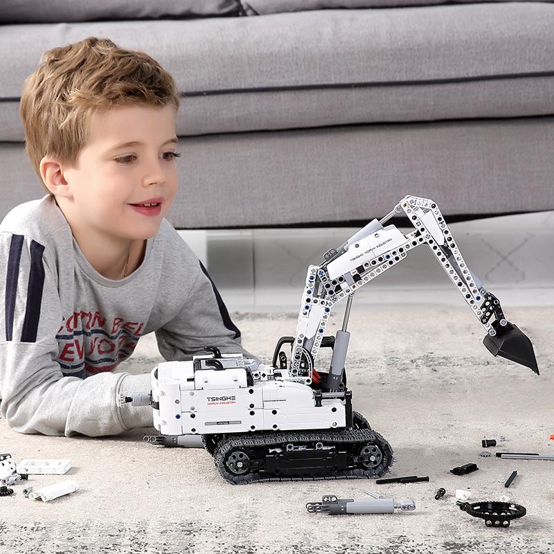 小米工程挖掘机玩具积木模型积木儿童汽车男孩组装智力拼装