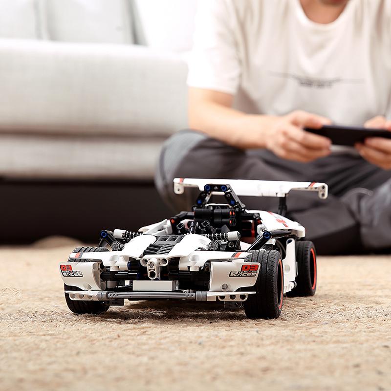 小米智能积木公路赛车电动赛车遥控汽车机器人模充玩具儿童男孩车